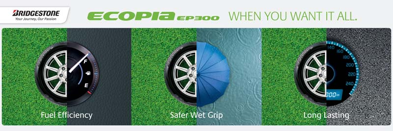 New eco-tyre ECOPIA EP300 features improved fuel efficiency, superior wet grip and extended wear life