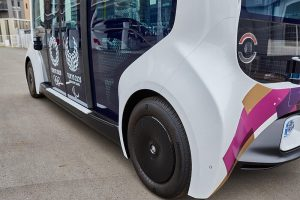 Bridgestone's support includes specially-designed tires for autonomous BEV Toyota e-Palette vehicles in the Olympic and Paralympic Villages.