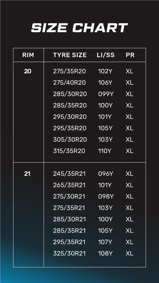 POTENZA SPORT - Size Chart